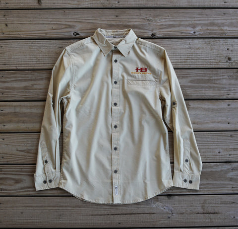 Banded Vented Long Sleeve Shirt - Khaki with HB Logo