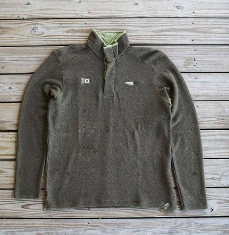 Banded Nubby Fleece Henley - Spanish Moss with HB Logo