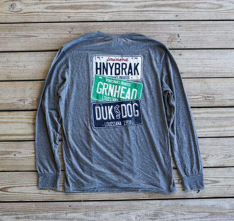 Back ofHB License Plate Long Sleeve T-Shirt Grey