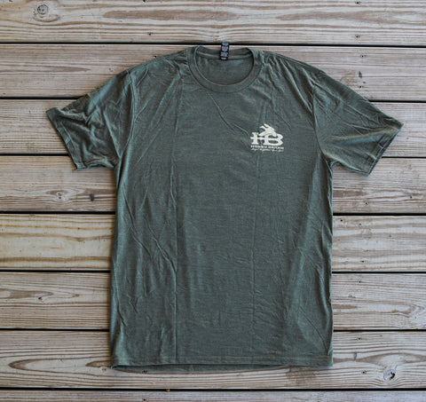 Front of HB License Plate Short Sleeve T-Shirt Olive