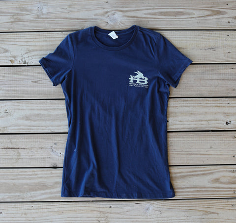 Front of HB Flying Duck Women's Navy T-Shirt
