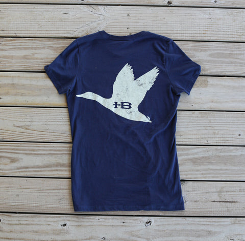 Back of HB Flying Duck Women's Navy T-Shirt