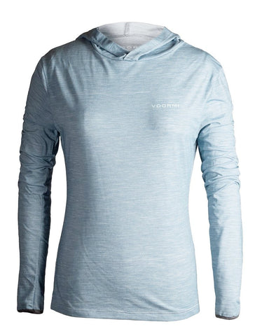 Voormi Women's Hooded Long Sleeve Tech Tee-Blue