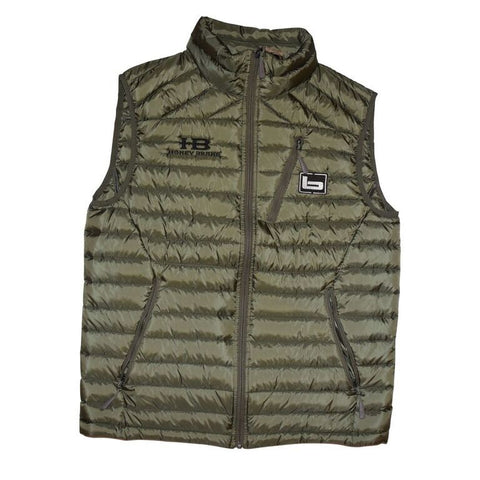 Banded Agassiz Down Vest-Spanish Moss with Honey Brake HB Logo embroidered on chest