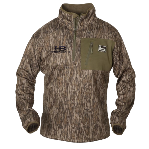 Banded 1/4 Zip Mid Layer Fleece Pullover-Bottomland w/HB Logo