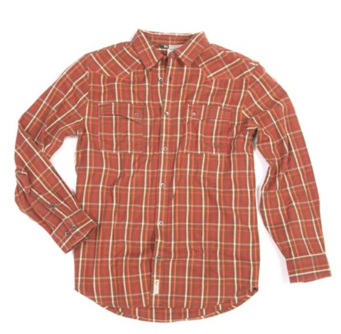 Banded Classic Button Down Flannel-Brown
