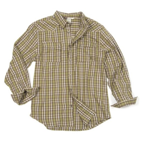 Banded Classic Button Down Flannel-Green