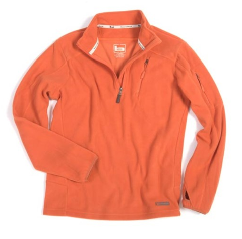 Banded Orange Fleece 1/4 Zip Camp Shirt
