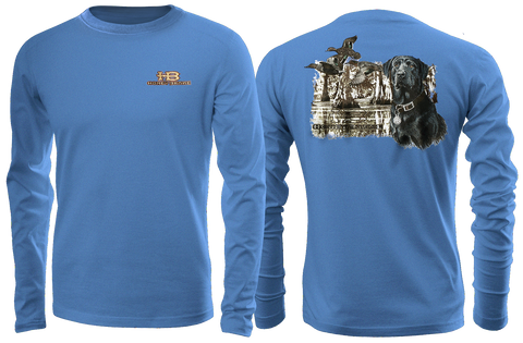 HB Black Lab/Swamp Adult Blue Long Sleeve T-Shirt