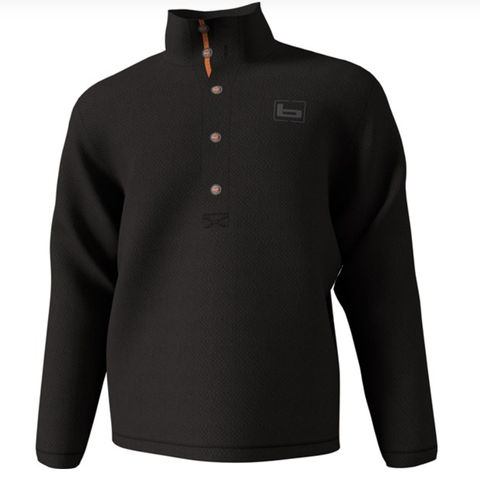 Banded Black Firepit Fleece Henley