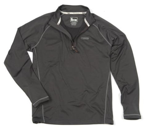 Banded Polar Fleece 1/4 Zip Pullover-Charcoal