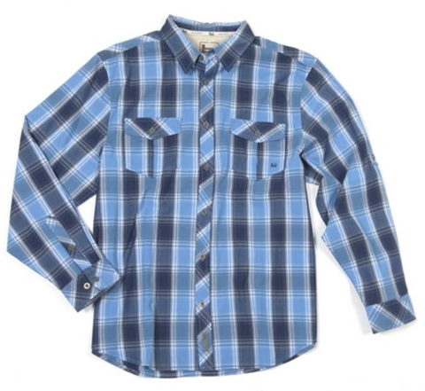 Banded Poplin Plaid Long Sleeve Shirt-Blue