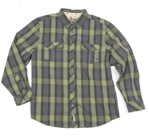 Banded Poplin Plaid Long Sleeve Shirt-Spanish Moss