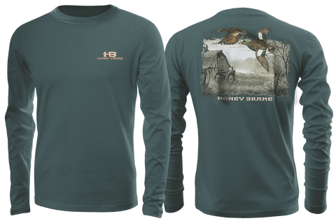 HB Duck on Farm Adult Green Long Sleeve T-Shirt