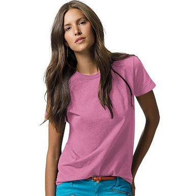 Hanes Women`s Relaxed Fit Jersey Comfortsoft Crewneck T-shirt, L-pink