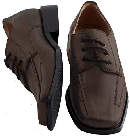 Boys Brown Leather Dress Shoes 6 Toddler Runs BIG