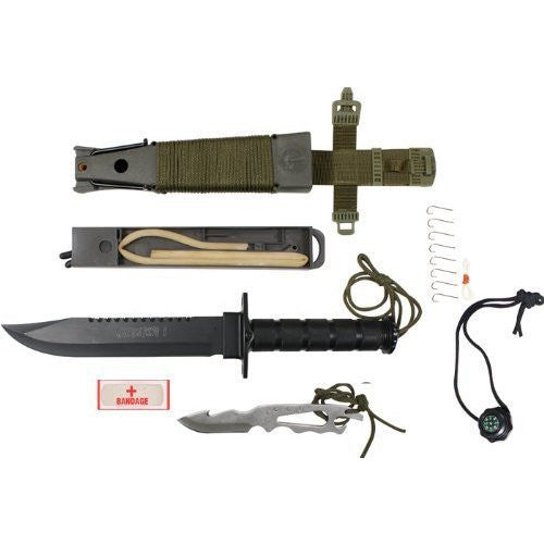 Black Jungle Survival Knife Kit with Olive Drab Cord