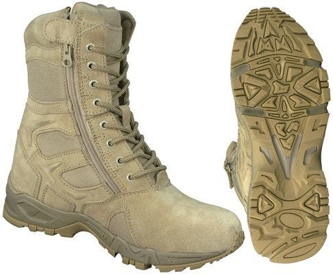 Rothco Mens Forced Entry Tactical Boots - Side Zipper, Desert Tan-size 12