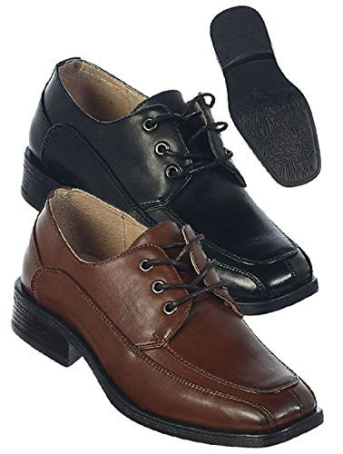Boys Leather Oxford Dress Shoes for Toddler and Boys-fouger 740
