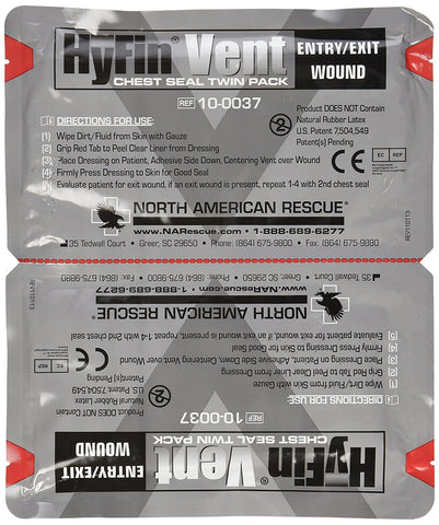 North American Rescue Hyfin Vent Chest Seal, 2 Count