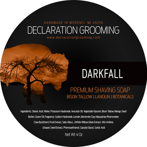 Darkfall Shaving Soap - Premium Bison Tallow Base - Autumn Seasonal