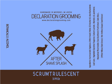 Scrumtrulescent - Alcohol Aftershave Splash (Non-Mentholated) - 3.1 fl oz - Winter Seasonal