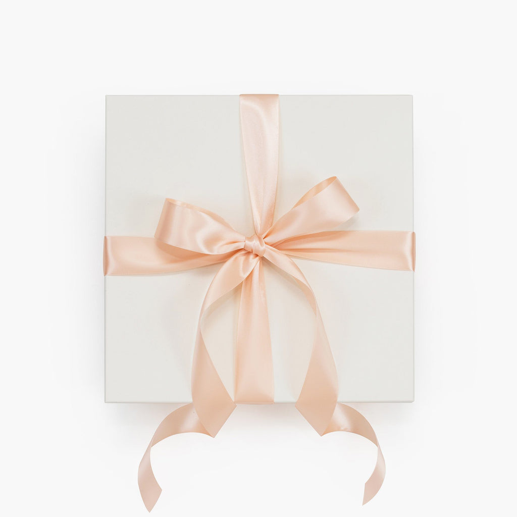 Bridal Ivory Gift Box with Blush Ribbon