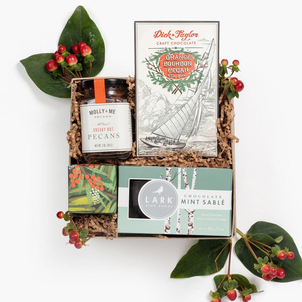 Loved and Found Festive Holiday Treat Box. Gourmet Christmas Gift Box Basket.