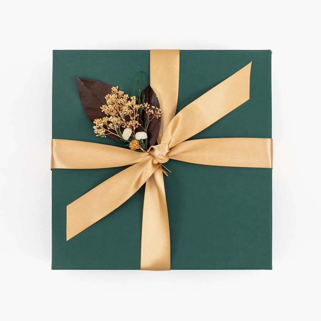 Green Gift Box with Christmas Flowers