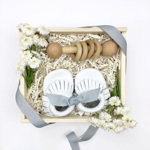Petite Baby Gift Box with leather shoes and rattle