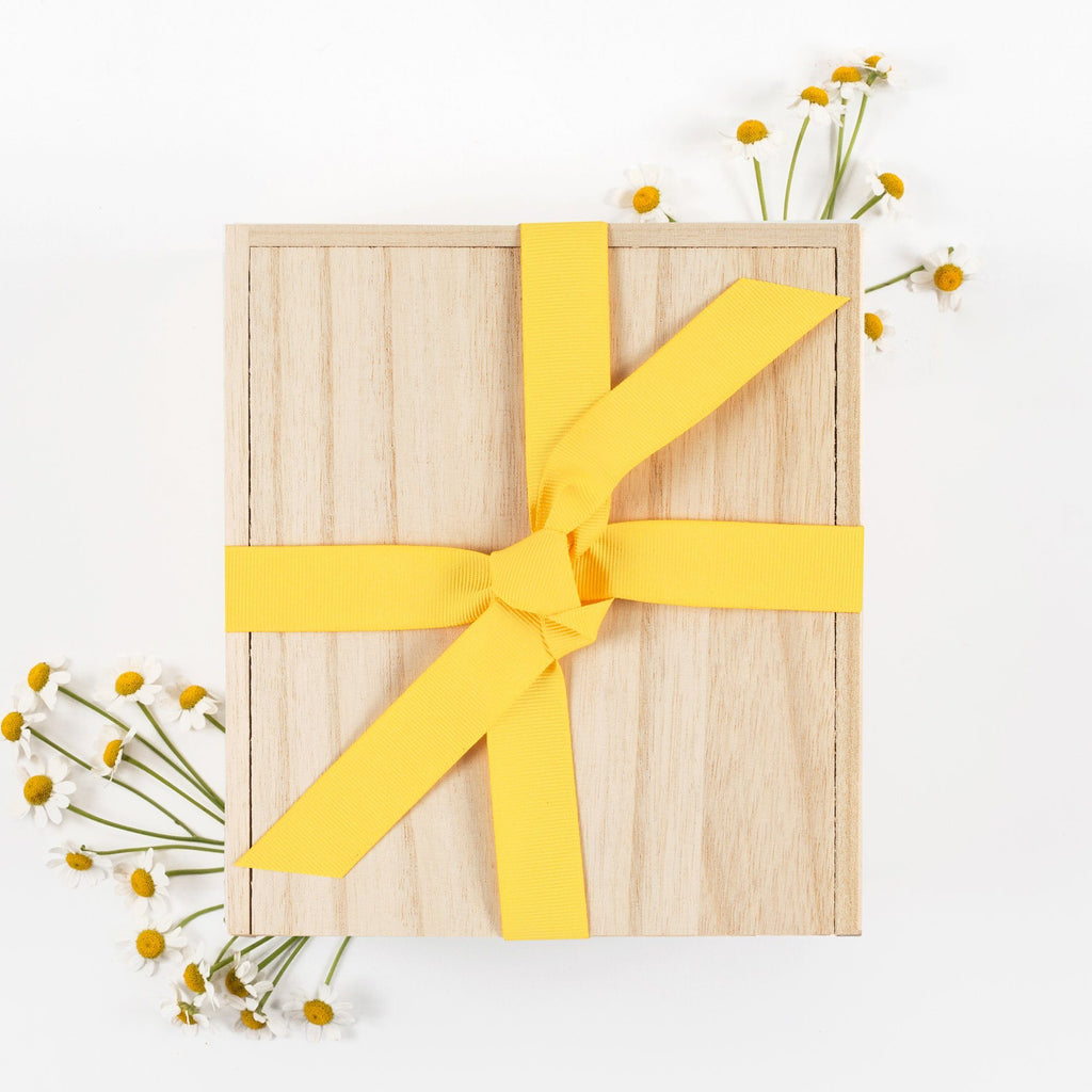 Wood Box Yellow Ribbon