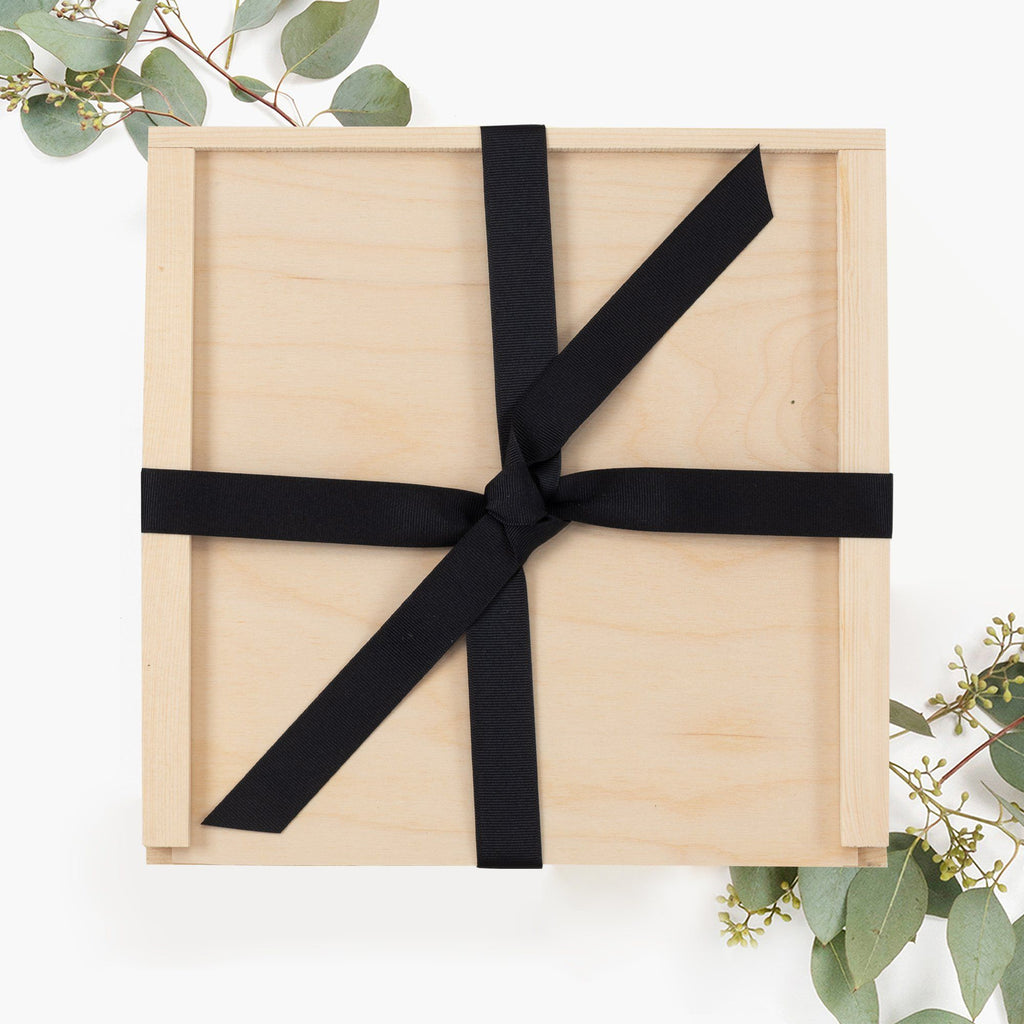 Wooden Gift Box Black Ribbon
