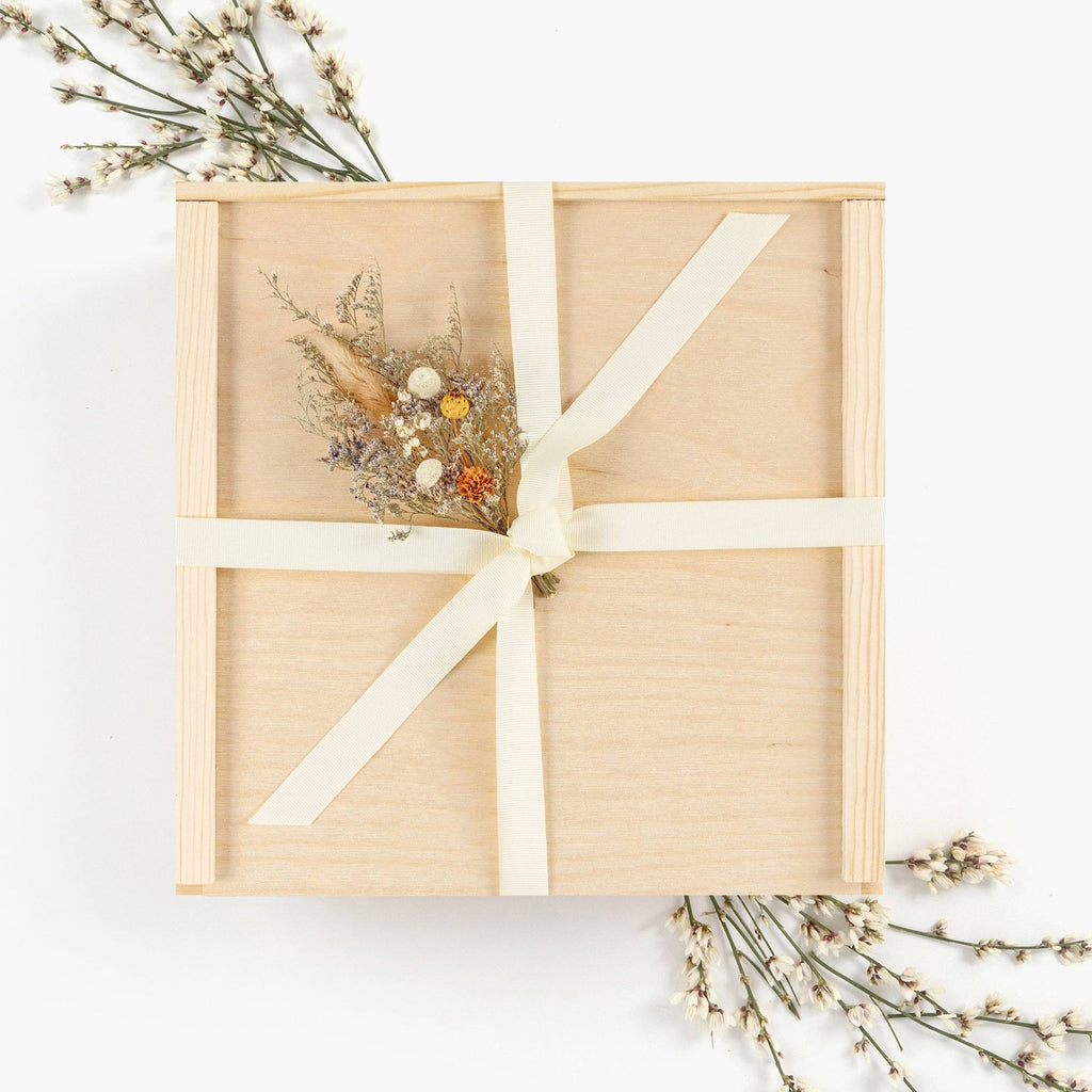 Wood Gift Box Ivory Ribbon