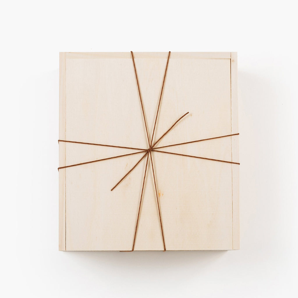 wooden gift box with twine