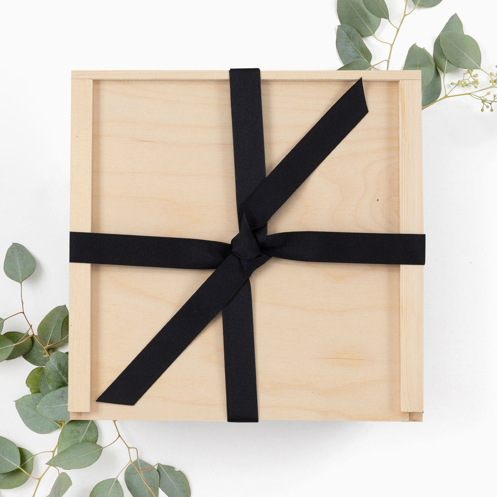 Wood box with ribbon gift