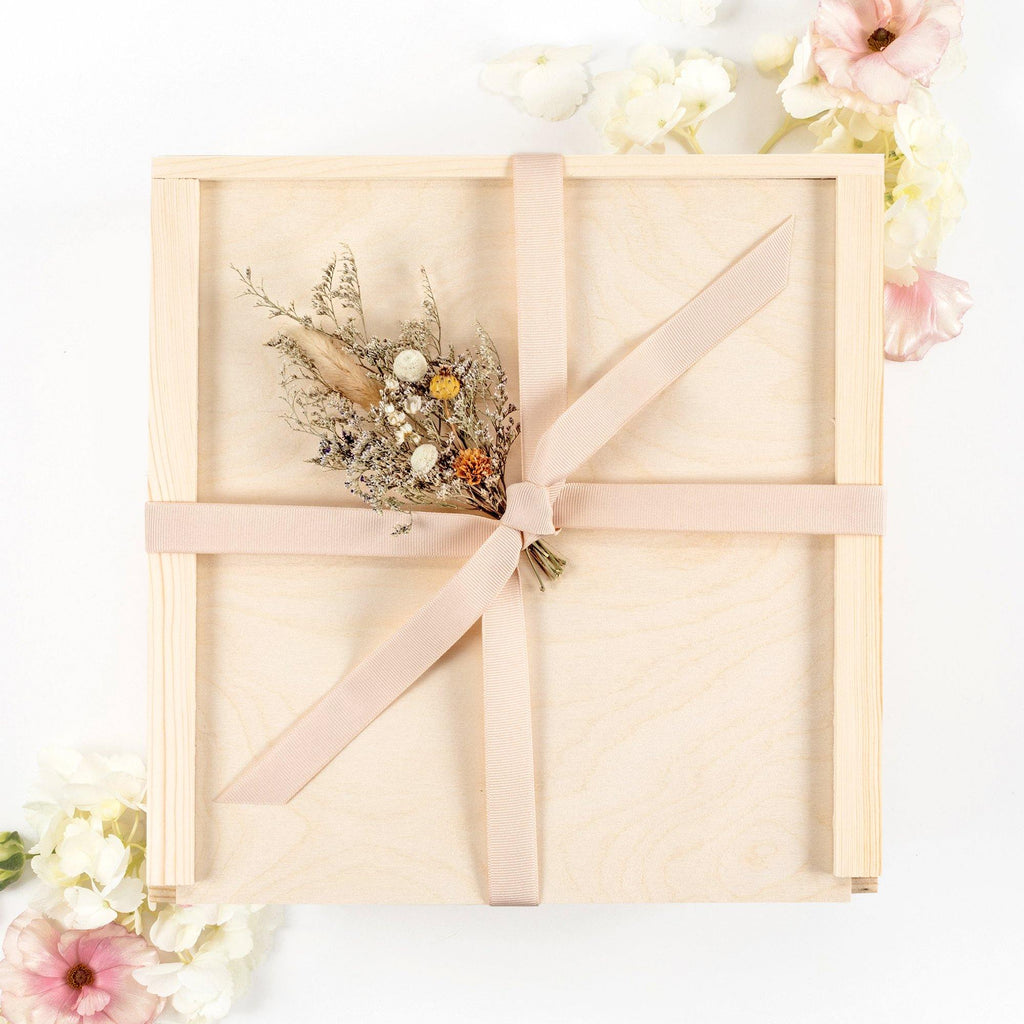 Wood Gift Box Floral Blush Ribbon