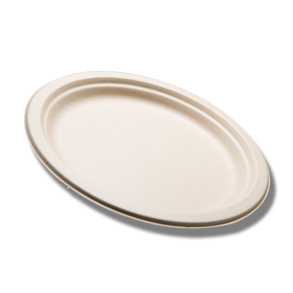 "Case of 9"" Compostable / Biodegradable Plates - 400 plates (Tranlin-branded)"