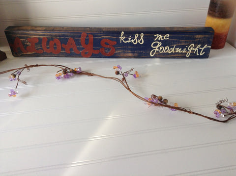 Always kiss me goodnight sign made with reclaimed wood - LadybugJellybean - 1
