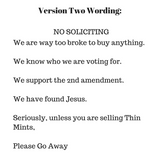 No Soliciting Front Porch Sign - LadybugJellybean - 4
