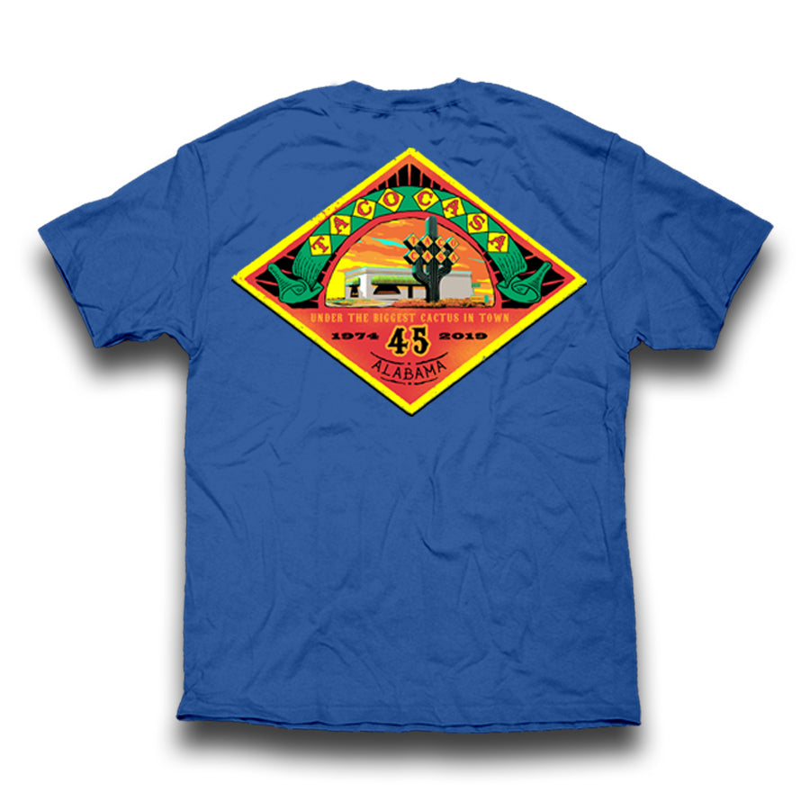 Taco Casa 45th Anniversary T-shirt - Neon Blue