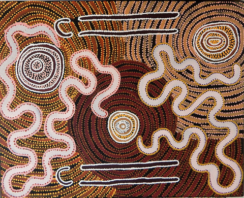 Aboriginal art painting by Leston Japaljarri Spencer