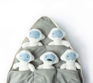 The five feels tucked away in their individual pocket inside the zip-up mountain pillow