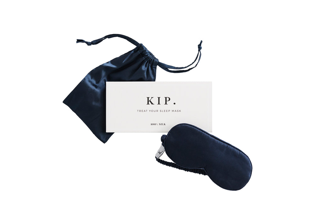 KIP. x Trouvaille Navy Silk Sleep Mask