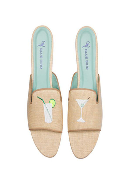 Blue Bird Slide Slippers in Rafia