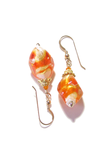Murano glass orange nugget earrings