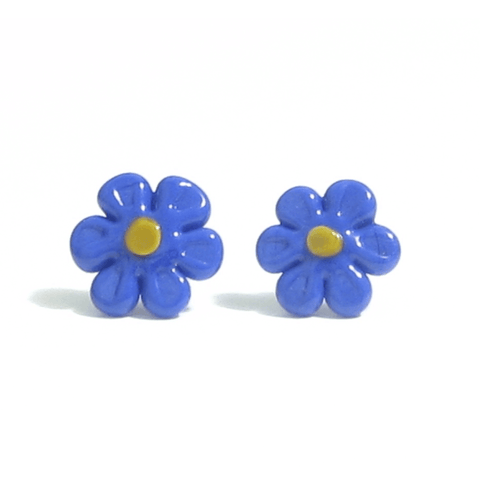 Murano Blue Daisy Flower Post Earrings, Studs - JKC Murano