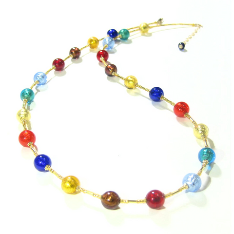 Murano Glass Colorful Ball Long Gold Necklace - JKC Murano