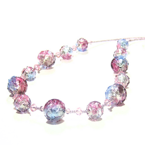 Murano Glass Blue Pink Purple Ball Silver Necklace - JKC Murano