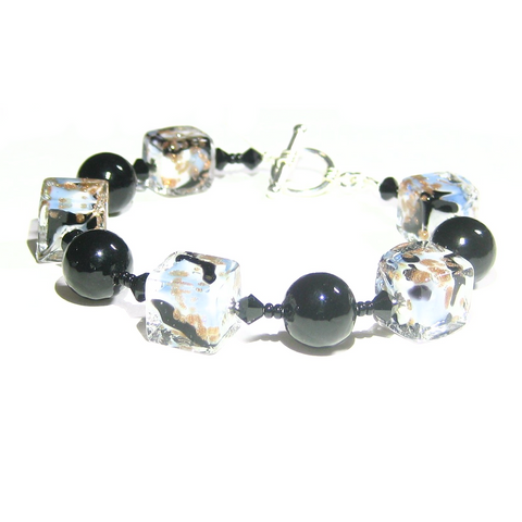 Murano Glass Blue White Black Cube Silver Bracelet