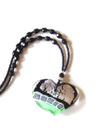 Murano Glass Large Heart Black Green Pendant Necklace JKC Murano